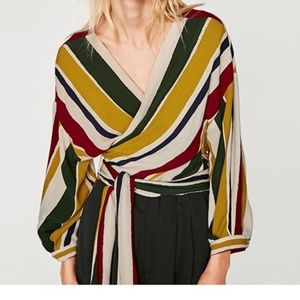ZARA- Striped Top with front belt